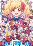 >_< 4boys 6+girls ;> ahoge aikatsu!_(series) aikatsu_stars! alice_carol_(aikatsu_stars!) animal_ears ashida_yuuri_(aikatsu!) bangs blonde_hair blue_hair blunt_bangs bonnet bow bowtie caroline_(aikatsu!) character_request chibi closed_eyes closed_mouth commentary_request copyright_name elza_forte epaulettes everyone flower futaba_aria glasses green_eyes green_hair hair_bow hair_flower hair_ornament hairband hanazono_kirara haruka_ruka igarashi_nozomu kasumi_asahi kasumi_mahiru kasumi_yozora kira_kanata kisaragi_tsubasa kizaki_rei looking_at_viewer mizuki_maya multicolored multicolored_hair multiple_boys multiple_girls nanakura_koharu nijino_yume one_eye_closed open_mouth ponytail purple_bow purple_hair purple_skirt redhead s4_uniform sakuraba_rola saotome_ako school_uniform shiratori_hime shirogane_lilly short_hair skirt smile standing standing_on_one_leg swept_bangs twintails venus_ark_uniform yellow_eyes yotsuboshi_academy_uniform yuuki_subaru