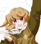 1girl 302 arm_up atra_mixta clenched_hands dated gundam gundam_tekketsu_no_orphans highres jacket light_brown_hair open_mouth red_eyes scarf smile solo twitter_username upper_body white_scarf