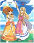 2girls blonde_hair blue_eyes brown_hair crown dress earrings flipped_hair flower_earrings highres jewelry long_hair mario_(series) multiple_girls pointy_ears princess_daisy princess_zelda sarukaiwolf super_mario_bros. super_smash_bros. super_smash_bros_ultimate the_legend_of_zelda the_legend_of_zelda:_a_link_between_worlds triforce yellow_dress