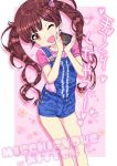 1girl arms_up brown_eyes brown_hair chocolate hair_ornament hairclip holding long_hair one_eye_closed open_mouth original overalls ozzzzy pink_shirt shirt short_shorts shorts smile solo twintails