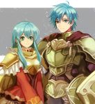 1boy 1girl 2900cm alternate_costume aqua_eyes armor axe battle_axe boots brother_and_sister brown_footwear cosplay eirika ephraim fado_(fire_emblem) fado_(fire_emblem)_(cosplay) fire_emblem fire_emblem:_seima_no_kouseki fire_emblem_heroes full_armor green_armor green_hair long_hair looking_at_viewer short_hair shoulder_armor siblings simple_background smile weapon