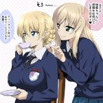 2girls bangs blonde_hair blue_eyes blue_skirt blue_sweater blush braid breasts chair collared_shirt cup darjeeling drinking earl_grey_(girls_und_panzer) emblem eyebrows_visible_through_hair french_braid girls_und_panzer green_eyes groping_motion hair_between_eyes heart impossible_clothes impossible_sweater large_breasts long_hair long_sleeves multiple_girls nakahira_guy necktie pleated_skirt polka_dot polka_dot_background saucer shiny shiny_hair shirt short_hair sitting skirt smile speech_bubble st._gloriana's_(emblem) st._gloriana's_school_uniform sweatdrop sweater teacup thought_bubble translation_request white_background white_shirt
