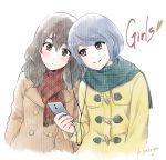 2girls black_eyes black_hair blue_hair cellphone coat domestic_na_kanojo earphones earphones english fujii_natsuo genderswap genderswap_(mtf) heart multiple_girls phone red_eyes sasuga_kei scarf signature smartphone smile tachibana_rui winter_clothes winter_coat