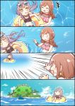 +++ 0_0 2girls 4koma ^_^ afloat alternate_hairstyle bang_dream! bangs bikini black_bikini black_choker bracelet brown_hair cheek_poking choker closed_eyes closed_eyes comic commentary_request day earrings emphasis_lines eyewear_on_head highres imai_lisa innertube island jewelry jitome kyou_(user_gpks5753) lavender_hair long_hair midriff minato_yukina multiple_girls navel ocean outdoors outstretched_hand palm_tree poking ponytail shark_fin silent_comic sunglasses sweatdrop swimming swimsuit tree trembling wavy_mouth yellow_eyes
