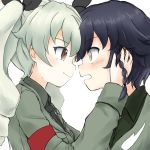 2girls absurdres anchovy anzio_military_uniform bangs black_hair black_neckwear black_ribbon black_shirt blush braid brown_eyes closed_mouth commentary_request dress_shirt drill_hair eyebrows_visible_through_hair from_side girls_und_panzer green_hair grey_jacket hair_ribbon hands_on_another's_face highres jacket light_frown light_smile long_hair long_sleeves looking_at_another military military_uniform multiple_girls necktie open_mouth partial_commentary pepperoni_(girls_und_panzer) red_eyes ribbon shirt short_hair side_braid simple_background twin_drills twintails uniform upper_body wabiushi white_background yuri