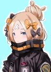 1girl abigail_williams_(fate/grand_order) absurdres bangs black_bow black_jacket blonde_hair blue_background blue_eyes blush bow closed_mouth crossed_bandaids fat123 fate/grand_order fate_(series) hair_bow hair_bun highres jacket light_smile long_hair looking_at_viewer orange_bow parted_bangs polka_dot polka_dot_bow sketch solo