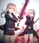 2girls artoria_pendragon_(all) bangs belt_buckle black_dress black_jacket black_ribbon black_shirt black_shorts blonde_hair breasts buckle chihuri closed_mouth collarbone dark_excalibur dress eyebrows_visible_through_hair fate/grand_order fate/stay_night fate_(series) fur-trimmed_jacket fur-trimmed_sleeves fur_trim glint hair_between_eyes hair_ribbon holding holding_sword holding_weapon hood hood_down hooded_jacket jacket jeanne_d'arc_(alter)_(fate) jeanne_d'arc_(fate)_(all) jewelry light_brown_hair long_hair long_sleeves looking_away low_ponytail medium_breasts multiple_girls open_clothes open_jacket pendant purple_jacket ribbon saber_alter shirt short_shorts shorts smile sword two-handed weapon white_belt wicked_dragon_witch_ver._shinjuku_1999 yellow_eyes