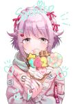 1girl absurdres braid brown_eyes commentary_request crepe food hair_flaps hair_ornament hair_ribbon hairclip highres hood hooded_jacket ice_cream ice_cream_cone idolmaster idolmaster_cinderella_girls jacket jewelry koshimizu_sachiko lavender_hair looking_at_viewer nail_art patch ribbon ring short_hair snack solo upper_body waffle_cone white_background
