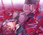 1girl armor artist_name bangs blush bodysuit boots commentary_request covered_navel damda fate/grand_order fate_(series) flower hair_between_eyes lance long_hair looking_at_viewer lying on_back parted_lips pauldrons petals planted_weapon polearm purple_hair red_eyes red_flower red_rose rose scathach_(fate)_(all) scathach_(fate/grand_order) signature solo sparkle upside-down weapon