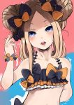 1girl abigail_williams_(fate/grand_order) absurdres arm_behind_back bangs bare_shoulders bikini black_bikini black_bow blonde_hair blue_eyes blush bow collarbone emerald_float fat123 fate/grand_order fate_(series) forehead hair_bow hair_bun hair_twirling hand_up head_tilt highres long_hair open_mouth orange_bow parted_bangs polka_dot polka_dot_bow solo swimsuit