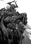 1boy armor belt breastplate cape commentary_request fate/grand_order fate_(series) full_armor gauntlets greyscale hands_on_hilt helmet holding holding_sword holding_weapon horned_helmet kei-suwabe king_hassan_(fate/grand_order) male_focus monochrome pauldrons simple_background skull solo spikes standing sword weapon white_background