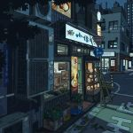 animated animated_gif flower highres night no_humans original outdoors pixel_art road scenery translation_request waneella