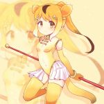 1girl animal_ears bangs bare_shoulders blonde_hair bracelet breasts brown_eyes covered_navel elbow_gloves extra_ears eyebrows_visible_through_hair gloves golden_snub-nosed_monkey_(kemono_friends) gradient_hair high_ponytail highleg highleg_leotard highres holding holding_staff jewelry kemono_friends leotard long_hair monkey_ears monkey_tail mugi_(user_khzh5853) multicolored_hair silhouette small_breasts solo staff tail thigh-highs white_hair yellow_legwear zoom_layer