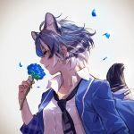 1girl animal_ear_fluff animal_ears backlighting bangs blue_flower blue_hair blue_jacket blue_neckwear blue_rose commentary_request dress_shirt extra_ears flower from_side highres holding holding_flower jacket kemono_friends maltese_tiger_(kemono_friends) multicolored_hair necktie nose open_clothes open_jacket petals profile realistic rose shirt short_hair smelling smile solo tail tail_raised takami_masahiro tiger_ears tiger_girl tiger_tail upper_body white_hair white_shirt yellow_eyes