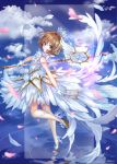 1girl antenna_hair bangs bare_shoulders between_fingers blue_sky brown_hair card card_captor_sakura clear_card clouds cloudy_sky commentary_request crown day dress eyebrows_visible_through_hair gloves green_eyes hair_between_eyes hair_intakes high_heels holding holding_card holding_staff kinomoto_sakura looking_at_viewer looking_to_the_side mini_crown outdoors petals pisuke shoes sky sleeveless sleeveless_dress solo staff standing standing_on_one_leg white_dress white_footwear white_gloves yume_no_tsue