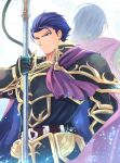 1boy armor belt blue_eyes blue_hair boots cape fire_emblem fire_emblem:_rekka_no_ken fire_emblem_heroes gloves hector_(fire_emblem) highres looking_at_viewer male_focus nakabayashi_zun simple_background uther_(fire_emblem) weapon