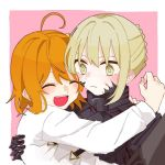 2girls ahoge armor artoria_pendragon_(all) bangs black_armor blonde_hair blush chaldea_uniform fate/grand_order fate/stay_night fate_(series) frown fujimaru_ritsuka_(female) hug k_neve1217 long_sleeves medium_hair multiple_girls open_mouth orange_hair pink_background saber_alter scrunchie upper_body yellow_eyes yellow_scrunchie yuri