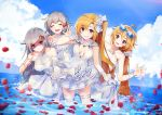 4girls :d ahoge alternate_costume azur_lane bangs bare_shoulders blonde_hair blue_sky blush breasts cleveland_(azur_lane) closed_eyes closed_mouth clouds collarbone columbia_(azur_lane) day denver_(azur_lane) dress dress_lift elbow_gloves eyebrows_visible_through_hair eyewear_on_head flower gloves hair_between_eyes hair_ornament halter_dress hand_behind_head hand_up leaning_forward lifted_by_self long_hair montpelier_(azur_lane) multiple_girls nagu ocean one_side_up open_mouth outdoors parted_lips partially_submerged petals pointing pointing_at_viewer red_eyes rose rose_in_hair scrunchie shaded_face signature sky smile sparkle sunglasses very_long_hair wedding_dress white_dress white_flower white_gloves white_rose