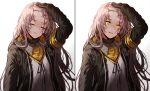 1girl :d armband bangs black_jacket blood brown_hair bruise bruise_on_face closed_eyes closed_mouth commentary damaged expressionless facing_viewer fingerless_gloves girls_frontline gloves hair_ornament hand_on_own_head hood hood_down hooded_jacket injury jacket long_hair looking_at_viewer multiple_views neck_ribbon one_side_up open_clothes open_jacket open_mouth ribbon scar scar_across_eye scarf shirt sidelocks silence_girl simple_background smile solo torn_clothes ump45_(girls_frontline) upper_body white_background white_ribbon white_shirt yellow_eyes