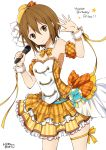 1girl bare_shoulders brown_eyes brown_hair dress frills happy_birthday hat k-on! looking_to_the_side microphone mini_hat ragho_no_erika ribbon short_hair solo star tainaka_ritsu thigh_strap white_background wrist_cuffs