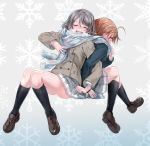2girls absurdres ahoge back-to-back blush breath brown_hair closed_eyes clover_hair_ornament coat commentary_request covering_mouth hair_ornament highres loafers locked_arms love_live! love_live!_sunshine!! multiple_girls nose_blush orange_hair pleated_skirt scarf shared_scarf shoes short_hair sitting skirt snowflake_background takami_chika watanabe_you winter_clothes winter_coat yuri yuuki_(nijiiro_palette)