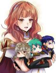armor blue_eyes blue_hair cape celica_(fire_emblem) chibi crown dress earrings ephraim fingerless_gloves fire_emblem fire_emblem:_rekka_no_ken fire_emblem:_seima_no_kouseki fire_emblem_echoes:_mou_hitori_no_eiyuuou fire_emblem_heroes fire_emblem_if gloves green_armor green_hair grey_hair hair_ornament hector_(fire_emblem) jewelry long_hair open_mouth red_eyes redhead rem_sora410 short_hair simple_background smile tiara veronica_(fire_emblem)