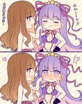 !? 2girls 2koma :3 bangs bb_(swimsuit_mooncancer)_(fate) black_gloves blush breasts brown_eyes brown_hair cheek_poking cleavage closed_eyes comic commentary_request fate/grand_order fate_(series) gloves hair_ribbon hands_on_hips heart karokuchitose kishinami_hakuno_(female) multiple_girls open_mouth pink_ribbon poking purple_bikini_top purple_hair ribbon shirt sleeveless sleeveless_shirt smug star striped striped_background sweat translation_request violet_eyes white_shirt