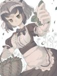 1girl alternate_costume animal_ears apron bangs basket black_bow black_hair bow bowtie clenched_hands closed_mouth commentary_request common_raccoon_(kemono_friends) dress dutch_angle enmaided extra_ears eyebrows_visible_through_hair flower foreshortening frills gloves green_eyes grey_hair hands_up highres holding kemono_friends leaf looking_at_viewer maid maid_headdress mochiyorinpun muted_color outstretched_arm puffy_short_sleeves puffy_sleeves raccoon_ears short_hair short_sleeves sidelocks solo upper_body waist_apron wavy_mouth white_gloves