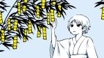 1girl blue_background commentary_request hand_up japanese_clothes kimono long_sleeves obi original parted_lips sash short_hair simple_background solo tetris tree wide_sleeves yajirushi_(chanoma) yukata