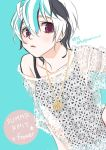 1girl blue_background casual character_name engrish flower_(vocaloid) highres jewelry looking_at_viewer multicolored_hair necklace ranguage short_hair simple_background streaked_hair typo v_flower_(vocaloid4) violet_eyes vocaloid white_hair