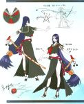 1girl absurdres bangs belt black_serafuku breasts collar collarbone concept_art fate/grand_order fate_(series) fingerless_gloves gloves gradient gradient_background high_heels highres honjou_raita large_breasts long_hair long_skirt looking_at_viewer low-tied_long_hair midriff minamoto_no_raikou_(fate/grand_order) multiple_views navel official_art open_toe_shoes page_number parted_bangs purple_hair red_gloves scan school_uniform serafuku sheath short_sleeves side_slit single_glove skirt sword turnaround very_long_hair violet_eyes weapon yo-yo