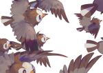bird commentary_request creatures_(company) flying from_side game_freak gen_4_pokemon highres nintendo no_humans pokemon pokemon_(creature) simple_background starly tunapon01 white_background