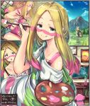 apron blonde_hair blue_eyes bra creatures_(company) e-co game_freak gen_2_pokemon gen_7_pokemon matsurika_(pokemon) nintendo paintbrush painting_(object) pokemon pokemon_(game) pokemon_sm ribombee snubbull underwear
