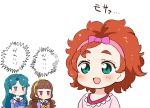 3girls :d amanogawa_kirara bangs blue_bow blue_eyes blue_neckwear blunt_bangs blush bow bowtie brown_hair chibi commentary_request empty_eyes eyebrows_visible_through_hair go!_princess_precure green_eyes green_hair hair_bow hairband haruno_haruka jitome kaidou_minami kurokawa_makoto long_hair long_sleeves looking_at_another low_twintails multiple_girls noble_academy_school_uniform open_mouth orange_bow orange_hair orange_neckwear parted_bangs pink_bow pink_hairband pink_shirt precure shiny shiny_hair shirt short_hair sidelocks simple_background smile star thick_eyebrows translated twintails upper_body violet_eyes white_background yellow_hairband