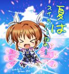 >_< 1girl :d armor armored_dress blue_sky brown_hair chibi clouds cloudy_sky commentary dated day eyebrows_visible_through_hair facing_viewer flying food hair_ribbon jacket light_particles lyrical_nanoha magical_girl mahou_shoujo_lyrical_nanoha_the_movie_3rd:_reflection ocean open_mouth outdoors outstretched_arms popsicle ribbon san-pon short_twintails skirt sky smile solo spread_arms takamachi_nanoha translated twintails twitter_username watermelon_bar white_jacket white_ribbon white_skirt