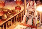 1girl absurdres breasts building chinese_clothes clouds cloudy_sky cup detached_sleeves dress drinking_glass fate/grand_order fate_(series) hair_ribbon heroic_spirit_traveling_outfit high_ponytail highres holding holding_cup holding_saucer horizon horns junpaku_karen lantern long_hair long_sleeves medium_breasts ocean oni oni_horns paper_lantern parted_lips petals ponytail railing red_eyes red_ribbon revision ribbon saucer sidelocks silver_hair sitting sky sleeveless sleeveless_dress smile solo sun table teacup tomoe_gozen_(fate/grand_order) very_long_hair water white_dress wide_sleeves