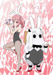2girls animal_ears anklet bunnysuit cocktail_glass collar commentary_request cup dated drinking_glass fake_animal_ears finger_gun hair_between_eyes hair_bobbles hair_ornament hairband hand_on_hip high_heels highres holding holding_tray horns jewelry kantai_collection long_hair looking_at_viewer mallet moomin multiple_girls muppo one_eye_closed pantyhose pink_eyes pink_hair rabbit rabbit_ears sazanami_(kantai_collection) sazanami_konami shinkaisei-kan sidelocks smile tail tongue tongue_out translated tray twintails white_hair