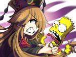 1boy 1girl angry asphyxiation bangs bart_simpson black_dress black_hat blonde_hair chinese_clothes choking clenched_teeth commentary crossover dress english_commentary eyebrows_visible_through_hair hands_on_another's_neck hat hat_ornament headdress holding_another's_hair junko_(touhou) kaliningradg long_hair open_mouth orange_shirt red_eyes shirt simple_background spiky_hair strangling tassel teeth the_simpsons tongue tongue_out touhou wavy_hair yellow_skin