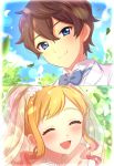 1boy 1girl :d aikatsu!_(series) aikatsu_stars! blonde_hair blue_eyes blue_sky blush bridal_veil brown_hair closed_eyes commentary_request couple day dress eyelashes gradient gradient_background hetero highres jewelry looking_at_viewer necklace nijino_yume open_mouth outdoors pearl_necklace sekina sidelocks sky smile veil wedding wedding_dress white_dress yuuki_subaru