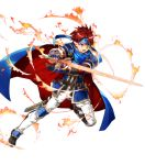 1boy armor blue_armor blue_eyes bunbun cape fire_emblem fire_emblem:_fuuin_no_tsurugi fire_emblem_heroes full_body gloves headband looking_at_viewer male_focus redhead roy_(fire_emblem) short_hair simple_background smile sword weapon