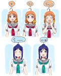 2girls :d ^_^ ^o^ ahoge bangs blue_hair blush bow closed_eyes closed_eyes closed_mouth commentary eyebrows_visible_through_hair green_neckwear grin hair_bow hair_ornament hairclip hands_up heart high_ponytail kurokawa_makoto long_hair looking_at_viewer love_live! love_live!_sunshine!! matsuura_kanan medium_hair multiple_girls multiple_views neckerchief open_mouth orange_hair parted_bangs pink_eyes red_neckwear school_uniform serafuku shiny shiny_hair short_sleeves sidelocks simple_background smile speech_bubble spoken_heart standing symbol_commentary takami_chika talking tareme tie_clip upper_body uranohoshi_school_uniform violet_eyes white_background yellow_bow