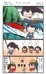 4koma 6+girls akagi_(kantai_collection) comic commentary_request highres hiryuu_(kantai_collection) houshou_(kantai_collection) kaga_(kantai_collection) kantai_collection megahiyo multiple_girls ryuujou_(kantai_collection) souryuu_(kantai_collection) speech_bubble translation_request twitter_username zuihou_(kantai_collection)