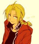 1boy 2016 antenna_hair black_shirt blonde_hair braid coat dated edward_elric eyebrows_visible_through_hair fullmetal_alchemist looking_at_viewer looking_up lowres male_focus red_coat shirt simple_background smile tsukuda0310 upper_body yellow_eyes