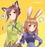 2girls animal_ears beatrice_(princess_principal) blue_shirt blush breasts brown_eyes brown_hair closed_mouth collared_shirt cosplay cosplay_request dorothy_(princess_principal) eighth_note green_shirt hand_in_pocket hand_on_hip head_tilt highres kemonomimi_mode long_hair long_sleeves multiple_girls musical_note necktie necktie_grab neckwear_grab orange_background police police_badge police_uniform policewoman princess_principal purple_neckwear shirt short_sleeves sleeves_past_wrists small_breasts smile sorimachi-doufu spoken_musical_note spoken_sweatdrop sweat sweatdrop uniform violet_eyes zootopia