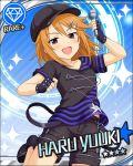blush brown_eyes brown_har cap character_name gloves idolmaster idolmaster_cinderella_girls shirt short_hair shorts smile stars yuuki_haru