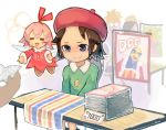 2girls =_= adeleine beret blue_eyes blush brown_hair closed_mouth eyebrows facing_another hat king_dedede kirby_(series) kirby_64 looking_away multiple_girls painting_(object) pink_hair placard ribbon_(kirby) shiburingaru short_hair sign sitting smile table