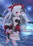 1girl azur_lane backless_dress backless_outfit bangs bare_shoulders black_dress black_footwear blush chains closed_mouth commentary_request dress dutch_angle elbow_gloves eyebrows_visible_through_hair fang fang_out female finger_to_mouth floral_print flower full_moon gloves glowing glowing_eyes grey_gloves grey_wings hair_between_eyes hair_flower hair_ornament hair_ribbon head_tilt high_heels highres horizon long_hair looking_at_viewer looking_back low_wings metal_wings moon night night_sky no_panties outdoors pleated_dress print_gloves red_eyes red_flower red_ribbon red_rose ribbon rose rose_print shoe_removed shoes short_dress shoulder_blades sidelocks silver_hair sky smile soles solo standing standing_on_one_leg star_(sky) starry_sky strapless strapless_dress sutei_(xfzdarkt) toenails twintails vampire_(azur_lane) very_long_hair water white_ribbon wings