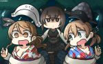 3girls anchor_hair_ornament black_skirt blush breasts brown_hair cosplay forest hair_ornament hamu_koutarou hat headgear highres japanese_clothes kantai_collection kimono large_breasts littorio_(kantai_collection) long_hair long_sleeves looking_at_viewer military military_hat military_uniform miniskirt multiple_girls nature open_mouth outdoors peaked_cap ponytail prinz_eugen_(kantai_collection) short_hair_with_long_locks skirt small_breasts taihou_(kantai_collection) taihou_(kantai_collection)_(cosplay) twintails uniform yukata