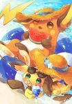 bad_id bad_twitter_id beach blush crazy_straw creatures_(company) drinking_straw eating food fruit game_freak gen_1_pokemon gen_2_pokemon hat hideko_(l33l3b) highres holding ice_cream innertube nintendo no_humans orange_eyes pichu pikachu pokemon pokemon_(creature) raichu smile straw_hat water watermelon wet