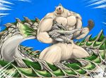 alternate_color animal battle cat commentary_request dinonix dragon epic felyne giant headlock monster_hunter muscle no_humans oversized_animal raviente tusks wyrm